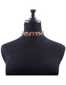 Fashion Black+red Star Shape Decorated Choker