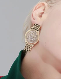 Fashion Gold Color Watch Shape Decorated Earrings