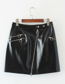 Fashion Black Zipper Decorated Skirt