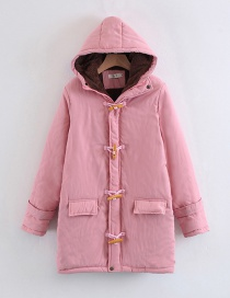 Fashion Pink Horns Buckle Design Cotton-padded Clothes