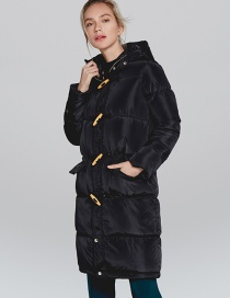 Fashion Black Horns Buckle Design Cotton-padded Clothes