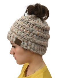 Fashion Beige Dots Pattern Design Knitted Hat