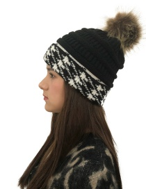Fashion Black Fuzzy Ball Decorated Knitted Hat