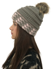 Fashion Dark Gray Fuzzy Ball Decorated Knitted Hat