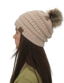 Fashion Beige Label&fuzzy Ball Decorated Knitted Hat