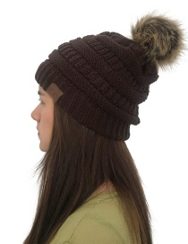 Fashion Coffee Label&fuzzy Ball Decorated Knitted Hat