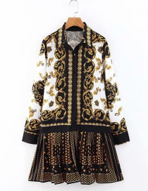 Fashion Yellow+black Flowers Pattern Decorated Dress