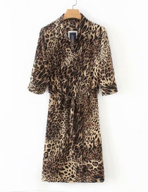 Fashion Brown Leopard Pattern Decorated Dress