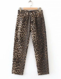 Fashion Brown Leopard Pattern Decorated Pants