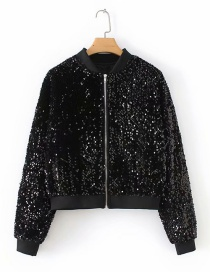 Fashion Black Sequin Decorated Coat