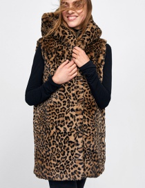 Fashion Brown Leopard Pattern Decorated Coat