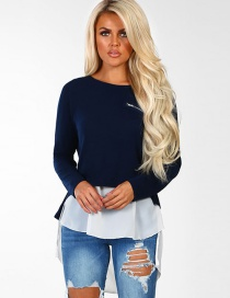Fashion Navy Pure Color Decorated Shirt