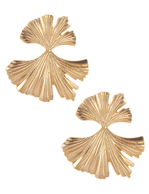 Fashion Gold Color Pure Color Design Leaf Shape Earrings