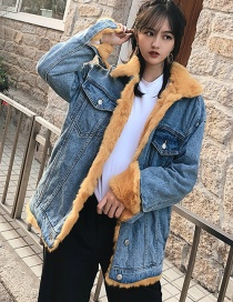 Fashion Yellow+blue Color Matching Design Simple Coat
