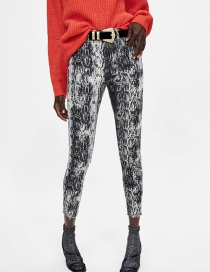 Fashion Gray Snake Pattern Decorated Long Pants