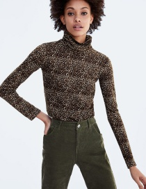 Fashion Brown Leopard Pattern Decorated Long Sleeves Shirt
