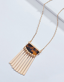 Elegant Brown Vertical Shape Pendant Design Long Necklace