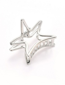 Elegant Silver Color Hollow Out Design Star Shape Hair Claw (small)