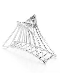 Elegant Silver Color Triangle Shape Design Pure Color Hair Claw (large)