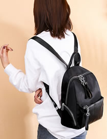 Fashion Black Double Zippers Design High-capacity Backpack