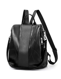 Fashion Black Zippers Design High-capacity Backpack