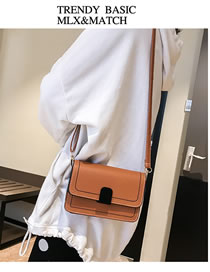 Fashion Red+brown Square Shape Design Pure Color Shoulder Bag