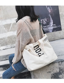 Fashion White Letter Pattern Decorated High-capacity Bag