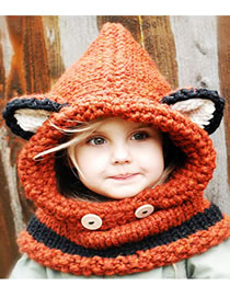 Lovely Orange Fox Shape Design Child Knitted Hat