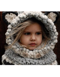 Lovely Gray Fox Shape Design Child Knitted Hat