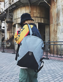 Fashion Light Gray Letter D Pattern Design High-capacity Backpack