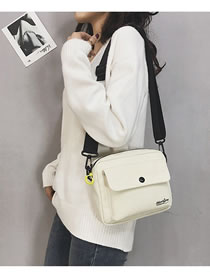 Fashion White Pure Color Design Square Shape Bag