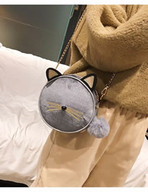 Fashion Light Gray Cat Shape Design Pure Color Shoulder Bag
