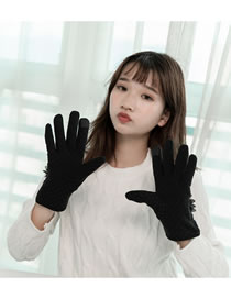 Fashion Black Flowers Decorated Touch-screen Gloves