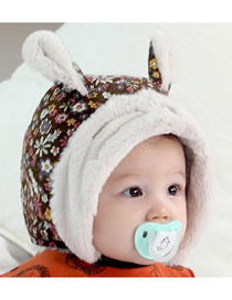 Fashion Coffee Star Pattern Decorated Warm Baby Hat