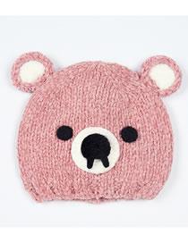 Fashion Pink Cartoon Bear Decorated Warm Baby Hat