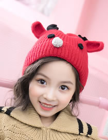 Fashion Red Cartoon Deer Decorated Baby Knitted Hat