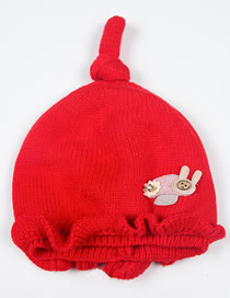 Fashion Red Mushroom Pattern Decorated Baby Knitted Hat