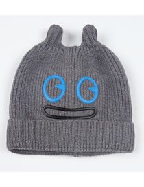 Fashion Light Gray Cartoon Pattern Design Pure Color Child Hat