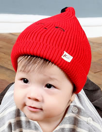Fashion Red Pure Color Design Baby Knitted Hat