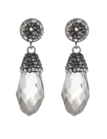 Fashion Gray Diamond Decorated Waterdrop Shape Earrings