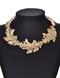 Fashion Gold Color Leaf Shape Design Pure Color Necklace
