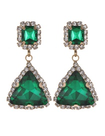 Fashion Green Triangle Shape Design Pure Color Earrings