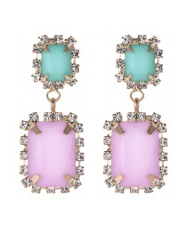 Fashion Pink+pale Blue Color Matching Design Long Earrings