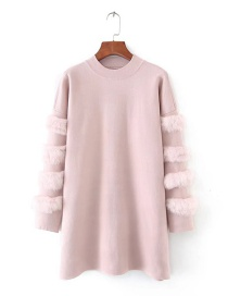 Sweet Pink Pure Color Design Round Neckline Sweater