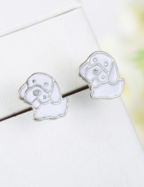 Fashion White Cartoon Dog Shape Design Earrings