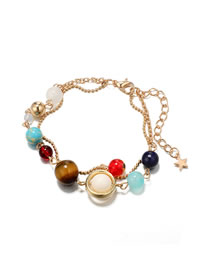 Fashion Gold Color Beads Decorated Double Layer Anklet
