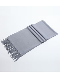 Fashion Gray Tassel Decorated Pure Color Scarf