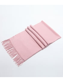 Fashion Pink Tassel Decorated Pure Color Scarf