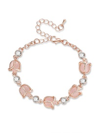 Fashion Pink Diamond&rose Decorated Bracelet