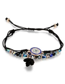 Fashion Black Flower&beads Decorated Simple Bracelet
